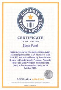Сертификат Книги рекордов Гиннесса, выданный компании SaCar Forni